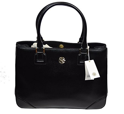 Tory Burch Saffiano Leather EW Tote Shoulder Bag Black