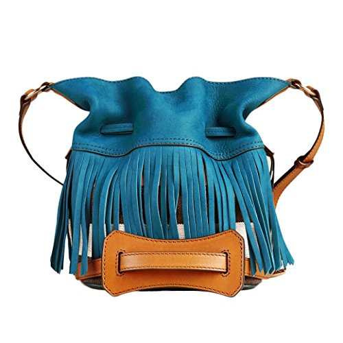 Burberry Canvas Check Fringe Ashby Teal Blue Crossbody Handbag
