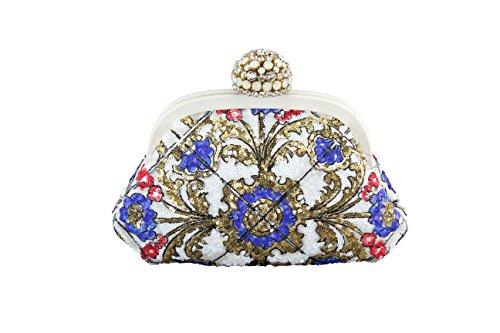 Dolce & Gabbana Womens Miss Dea Clutch Handbag Geometric Multi-Color Viscose