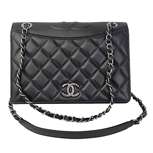 Chanel Black Leather Chain Shoulder Bag A93012