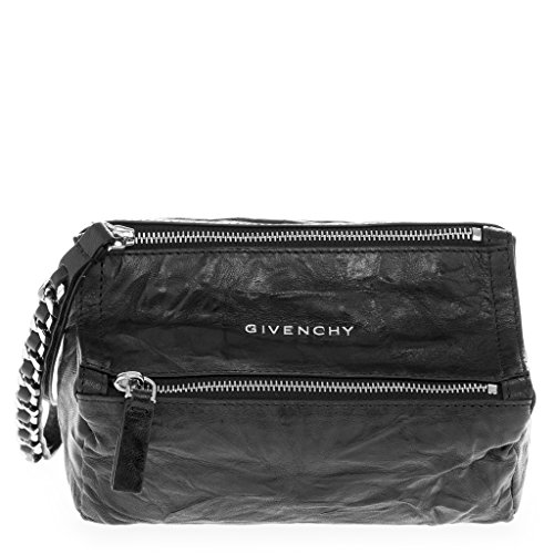 Givenchy Women's Pandora Top-Zip Grained Chain-Link Strap Wristlet Black