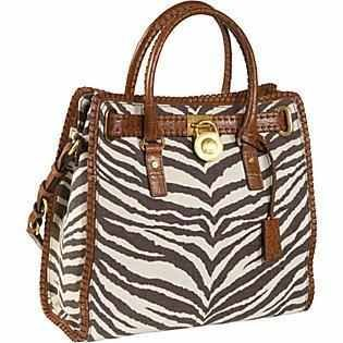 Michael Kors Hamilton Whipped Tiger Animal Print Canvas Brown NS North South Tote Handbag