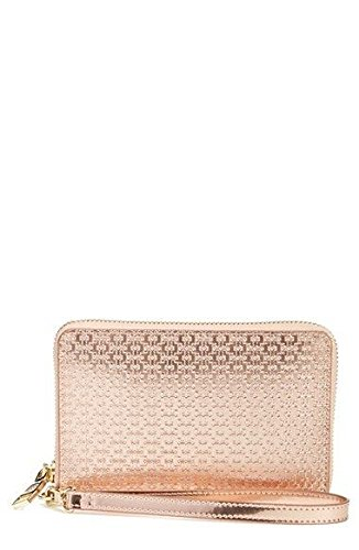 Tory Burch Metallic Embossed T Multi-Task Smartphone Wallet In Rose Gold