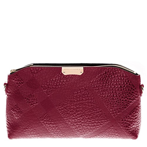 Burberry Women's Small Embossed Check Clutch Bag Rose