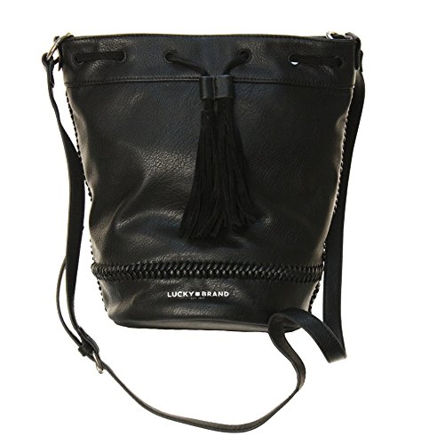 Lucky Brand Women's Braided Bucket Bag Purse Black