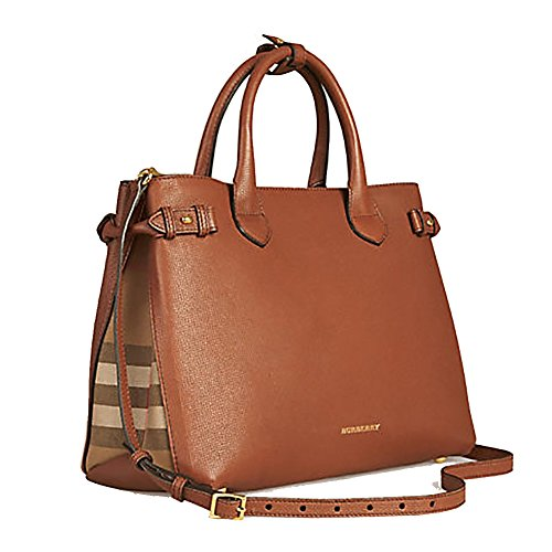 Tote Bag Handbag Authentic Burberry Medium Banner in Leather and House Check TAN Item 39807941