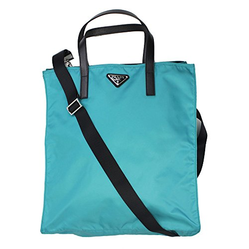 Prada Blue Nylon Tote Bag With Shoulder Strap Bn2641 Turchese