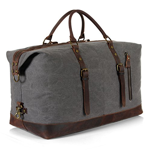 Langforh 21″ Larger Canvas Leather Weekender Overnight Bag Travel Duffel Tote