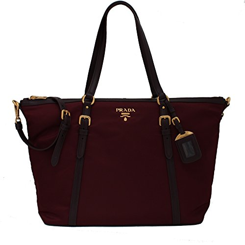 Prada B4253M Tessuto Soft Calf Nylon and Leather Shopping Tote Bag – Burgundy Crimson Red