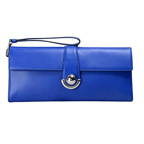 "Salvatore Ferragamo Women's ""Ariette"" Blue Leather Wrist Bag Clutch"