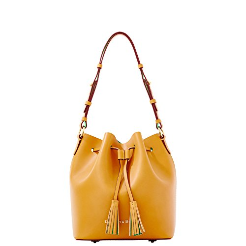 DOONEY & BOURKE Large Montecito Serena Leather Drawstring Bucket Bag in Butterscotch / Green EG139