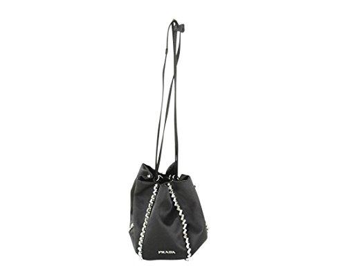 Prada Womens Raso Ricamo Baguette Handbag – Black Satin