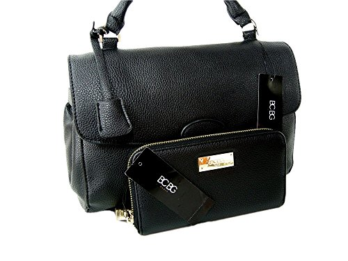 cf136bdba0e6 New BCBG Paris Purse Satchel Crossbody Hand Bag Black Tote   Wallet 2 Piece  Matching Set
