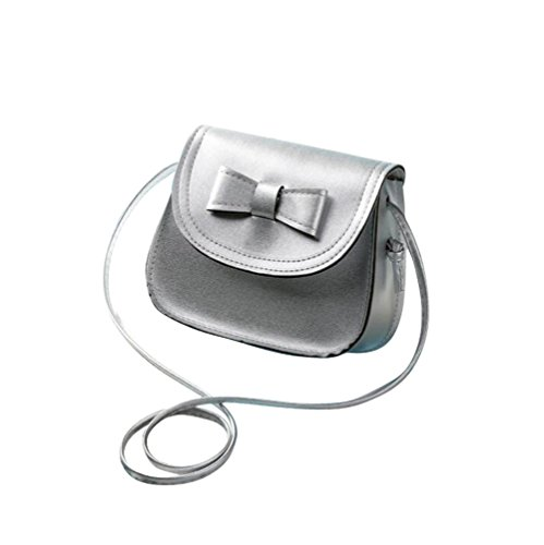Laracca Women's Genuine Leather Cross body Bag Wristlet Handbag (Silver)