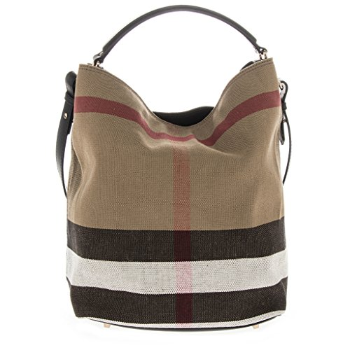 Burberry Women's 'Medium Ashby' Canvas Check and Leather Hobo Bag Black Beige Brown