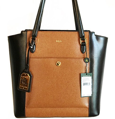 NEW AUTHENTIC LAUREN RALPH LAUREN NEWBURY SAFFIANO LEATHER CLASSIC TOTE HANDBAG (Black/Luggage)