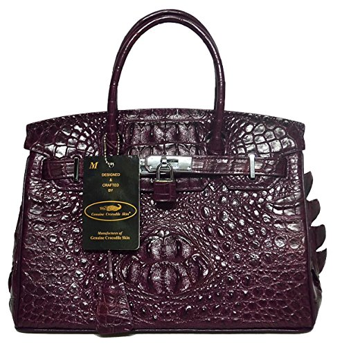 Authentic M Crocodile Skin Womens Hornback Locked Clutch Bag Purse Dark Purple Handbag
