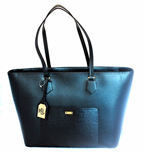 Ralph Lauren Lowell Classic Tote Black Leather Shoulder Bag With Tags Casual Business Strap Zipper