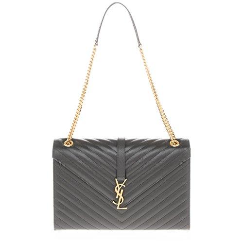 Saint Laurent Women's Large Monogram Matelasse Chain Shoulder Bag Dark Grey