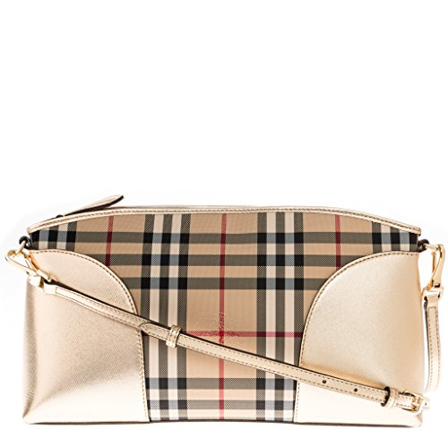 Burberry Women's Horseferry Check and Leather Clutch Bag Gold