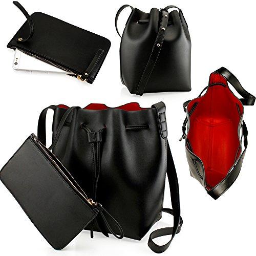 Oct17 Black Women Fashion Handbag Faux Leather Bucket Bag Tote Shoulder Retro Crossbody Purse small pouch