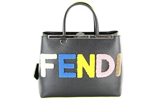Fendi Womens Shearling Fur Logo 2Jours Elite Tote Black Leather