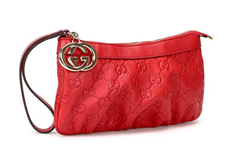 Gucci Guccissima Leather Wristlet Bag, Red 212203