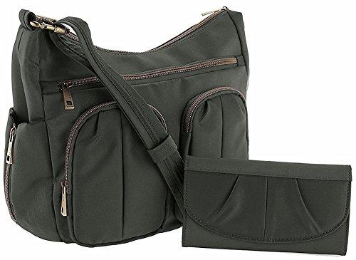 Travelon Anti-Theft Twin Pocket Bucket Bag – Charcoal