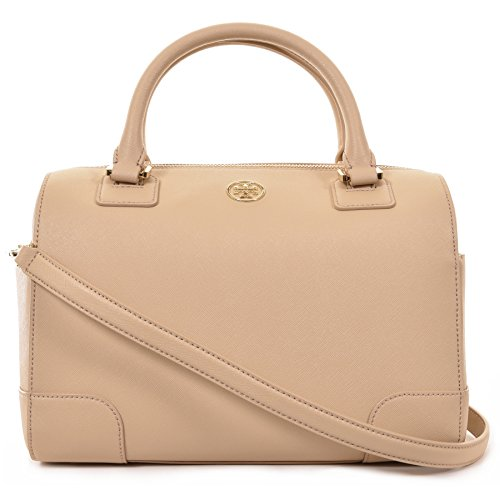 Tory Burch Robinson Middy Satchel Saffiano Leather – Matte Toasted Wheat (Beige)