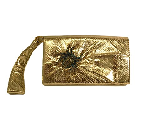 Roberto Cavalli Women's Wristlet Clutch Gold Silk Wallet