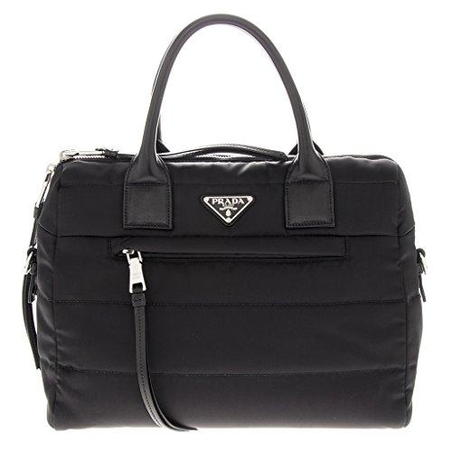 Prada Women's Tesutto Bomber Satchel Bag Black