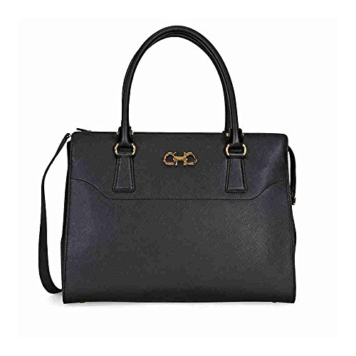 Ferragamo Medium Double Gancio Leather Tote – Black