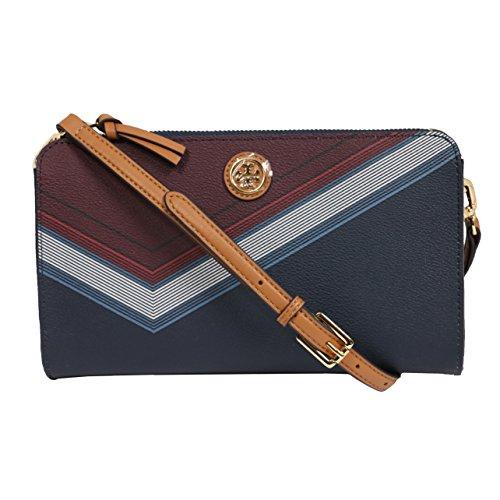 Tory Burch Kerrington Wallet Clutch Crossbody Red Agate Lyon Stripe