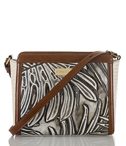 Brahmin Carrie Embossed Leather Silver Loreto Crossbody Bag