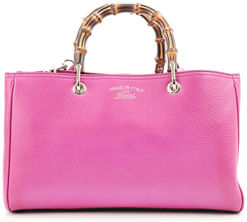 Gucci Bamboo Leather Shopper Shoulder Tote Bag 323660 – Bright Pink