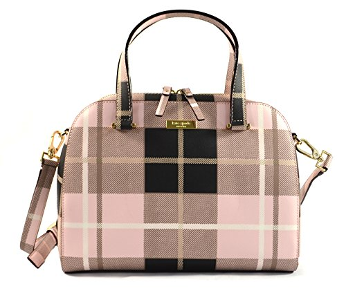 Kate Spade Small Felix Newbury Lane Printed Crossbody Bag Purse Handbag, Plaid Pink