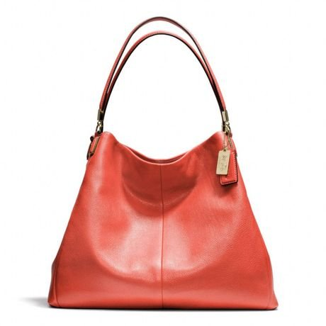 Coach Madison Leather Phoebe Shoulder Bag Vermillion Light Gold 24621
