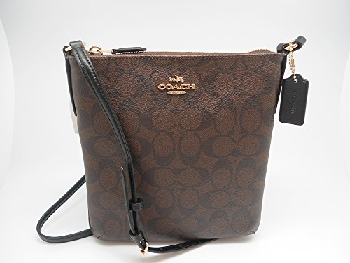 COACH F58309 SIGNATURE NORTH/SOUTH CROSSBODY BROWN BLACK