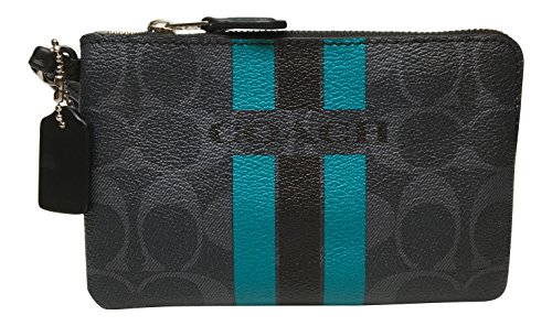 Coach Varsity Stripe Small Wristlet Corner Zip Denim Black F66052