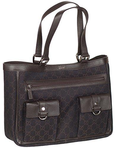 Gucci Brown Denim Leather Trim GG Guccissima Handbag Tote Bag