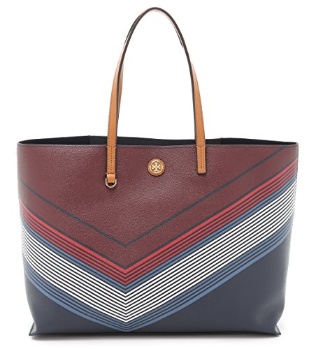Tory Burch Kerrington Shopper Bag Square Tote Handbag Red Agate Lyon Stripe