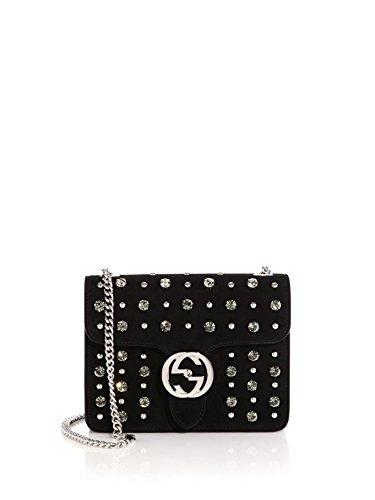 GUCCI INTERLOCKING CRYSTAL SHOULDER BAG Black Evening Bag New
