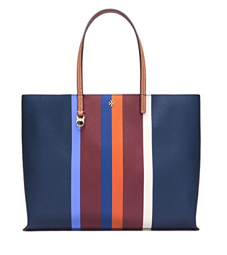 TORY BURCH KERRINGTON STRIPE SQUARE MULTI CENTER STRIPE TOTE
