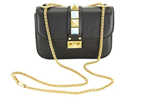 Valentino Garavani Womens Rocklock Bag – Black Leather