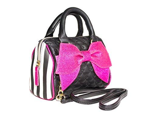 Betsey Johnson Quilted Faux Leather Glitter Bow Mini Barrel Crossbody Handbag