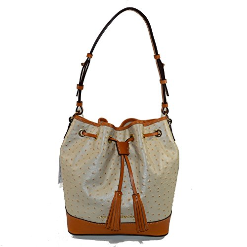 Dooney & Bourke Ostrich Emb Leather Drawstring bag Pearl