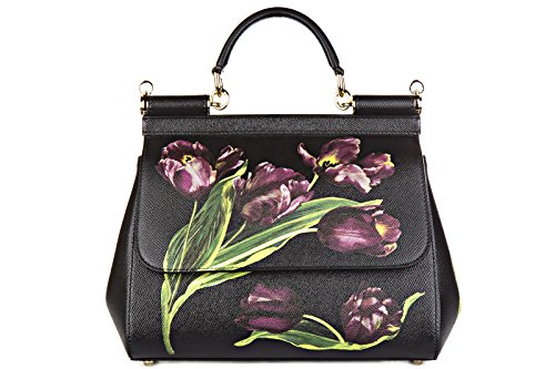 Dolce&Gabbana women's leather handbag shopping bag purse sicily dauphine black