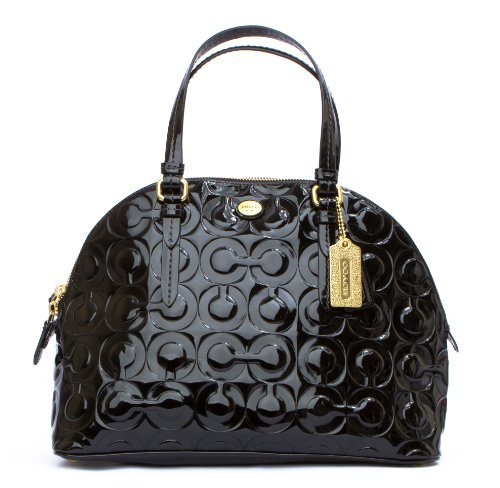 Coach Peyton Op Art Embossed Patent Cora Domed Satchel