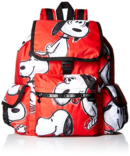 LeSportsac X Peanuts Voyager Back pack, Snoopy Toss Red, One Size