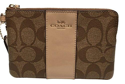 Coach Signature PVC Corner Zip Wristlet Khaki – Platinum F54629